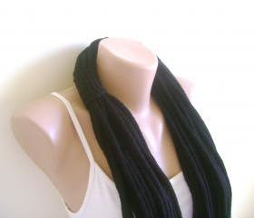 Black knitting infinity scarf, loop scarf, shawl