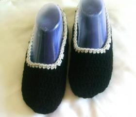 Unisex slippers black grey wool slippers crochet slippers woman slippers home shoes cosy slippers man slippers