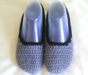 Unisex slippers slate grey wool slippers crochet slippers woman slippers home shoes cosy slippers man slippers
