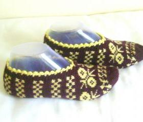 Brown yellow slippers crochet slippers woman slippers home shoes cosy slippers