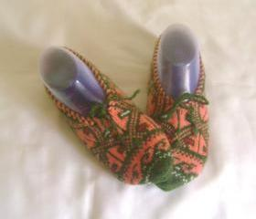Orange green slippers crochet slippers woman slippers home shoes cosy slippers
