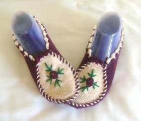 Woman slippers Plum ivory slippers home shoes cosy slippers 