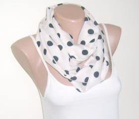 White black infinity cotton scarf, loop scarf, polka-dot scarf