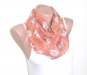 Salmon infinity cotton scarf, loop scarf, floral scarf